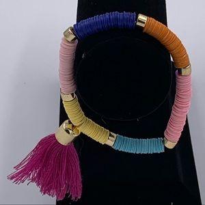 Sequin Confetti Beaded Tassel Bracelet Boho Colors